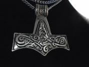 """Viking Skane Mjolnir THOR'S HAMMER NECKLACE 43 mm double sided high quality sculpted 925 silver plated pendant 27"""" n made in USA new with tag Hammer of OLAND , NORSE PAGAN JEWELLERY,"""