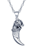 Yumilok Jewellery 925 Sterling Silver Cool Tiger's Head Wolf's Tooth Pendant Necklace for Women/Girls