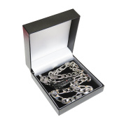 """Silvadore - 9mm FIGARO Necklace OR Bracelet Chain - Men's Silver Stainless Steel Jewellery - 8"""" / 20"""" / 22"""" / 24"""" - 60 Days ."""