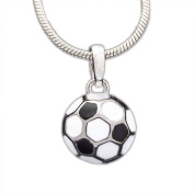 Ass 925 silver younger children's Pendant Football Enamelled with White and Black