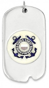 925 Sterling Silver Rhod-plated Us Coast Guard Dog Tag