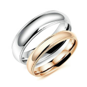 Epinki Stainless Steel Silver Rose Gold Couple Wedding Promise Rings Set for His and Hers 6MM/4MM