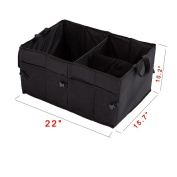 Trunk Organiser Heavy Duty Cargo Storage Box For Car Truck SUV Durable Collapsible Cargo Storage Multipurpose Oxford Fabric for Travel Vacation Camping Black