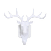 Creazy Deer head Self Adhesive Wall Door Hook Hanger Bag Keys Sticky Holder