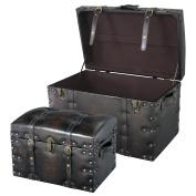 Azumaya IW-876, (Small and Large) 2PCS Set Storage Boxes Stool Black Synthetic Leather Finish