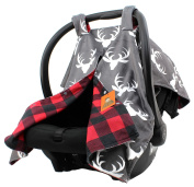 Dear Baby Gear Deluxe Car Seat Canopy, Custom Minky Print Plaid White Antlers, Red and Black Buffalo Plaid Minky