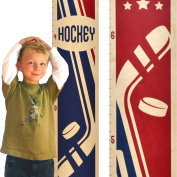 Growth Chart Art | Wooden Height Chart | Hockey Growth Chart for Boys | Sports Themed Nursery Decor | Hockey Red & Blue
