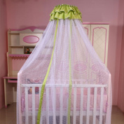 RuiHome Baby Mosquito Net for Crib Toddler Boys Girls Bed Canopy with Green Lace Decor