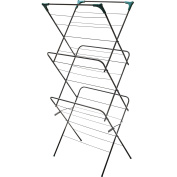 3 Tier Clothes Airer Horse Winged Tall Tower Folding Laundry Dryer Rack Indoor Powder Coated Steel Frame