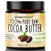 Cocoa Butter - Molivera Organics Raw Organic 100% Pure Raw Premium Grade A Natural Cocoa Butter 470ml - Best for DIY Lip Balm, Sticks, Face, Skin, Hair and Stretch Marks