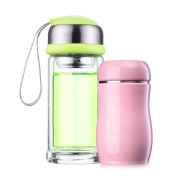 YIHANG @ Glass Combination Insulation Cup Portable Mini Two-piece Cup Children's Cup,Green+Pink