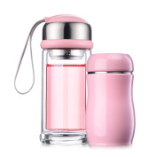 YIHANG @ Glass Combination Insulation Cup Portable Mini Two-piece Cup Children's Cup,Pink+Pink