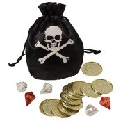 Pirate Treasure Gold Coins and Pouch Set Fancy Dress Accessory