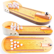Wooden Mini Bowling Game Set with Lane