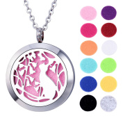 VALYRIA Cat Aromatherapy Essential Oil Diffuser Necklace - Stainless Steel Locket Pendant with with Personalised Engraving