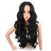 KRSI Long Wavy Wigs for Women Middle Part Fluffy Lolita Cosplay Costume Black Party Non-Lace Full Wigs With Real Looking+Free Wig Cap