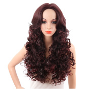 KRSI Long Wavy Curly Women's Wigs 70cm Wine Red Natural Hair Wigs With Side Bangs Heat Resistant Party Cosplay None Lace Wigs+Free Wig Cap