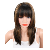 KRSI Fashion Hairstyles Black Mix Brown Synthetic Wigs for Black White African American Women Heat Resistant Natural Wavy Women's Custom Cosplay Party Wigs 36cm +Free Wig Cap
