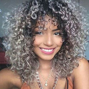 Wigsforyou New Fashion Curly Wave Ombre Grey Synthetic Cute Pixie Wigs for Women