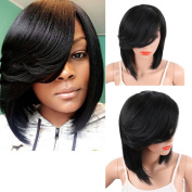 KRSI Short Pixie Cut Straight Bob Synthetic Wigs for Women Heat Resistant Costume African American Wigs with Bangs Natural Black Full Wigs That Look Real+Free Wig Cap