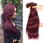 Stephanie Hair Brazilian Straight Hair Grade 8A 100% Unprocessed Virgin Human Hair Weave Extensions Colour 99j 3pcs (100+/-5g)/pc