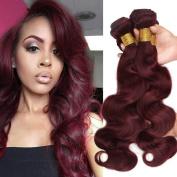 Stephanie Hair Brazilian Virgin Human hair Weave Body Wave Bundles Grade 8A Unprocessed Remy Hair Extensions Colour 99j 3pcs (100+/-5g)/pc