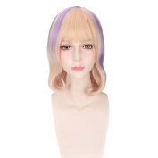 COSIN 33cm Short Curly Blonde Mixed Purple Wigs . Women Girls Wig with Flat Bangs Hairnet Included