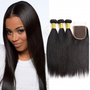 Fumigirl 7A 100% Unprocessed Brazilian Virgin Hair Straight Weave Mixed Length 3 Bundles with Lace Closure Human Hair Extensions Weft with Closure