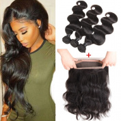 8A Brazilian Virgin Hair Body Wave with 360 Frontal Brazilian Body Wave 360 Lace Frontal with Bundles Pre Plucked