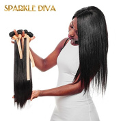 Sparkle Diva 100% Tangle Free 7a Unprocessed Brazilian Straight Virgin Human Remy Hair 3Bundles With 1 piece Middle Part Lace closure (4×4) customised As Your Need (Natural Colour)
