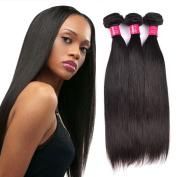 ItsUHair 7A Virgin Peruvian Human Hair Straight 3 Bundles Deals Natural Black Colour 95-100g per Bundles