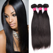 ItsUHair Indian Straight Virgin Human Hair 3 Bundles 100% Unprocessed Hair Extensions Natural Black Colour 95-100g/pc