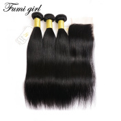 Fumigirl Malaysian 100% Unprocessed Straight Virgin Hair 3 Bundles Wefts with Lace Closure Human Hair Extensions Natural Colour (20 22 24+18)