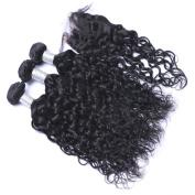 MeiRun Kinky Curly Hair With Closure 3 Bundles With Closure 7A Grade Virgin Human Hair 10-70cm Natural Black