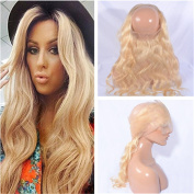 Tony Beauty Hair #613 Russian Blonde Human Hair 360 Band Lace Frontal Closure Pre Plucked Body Wave 22.542 Bleach Blonde Frontal 360 Full Lace Closure