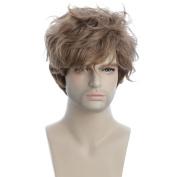 karlery 13cm New Cool Men Short Curly Brown Wig with Bangs