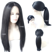 V'NICE Synthetic Lace Front Kinky Straight Black Wig with Baby Hair Hand Tied Glueless High Density Heat Resistant Fibre Wig for Women