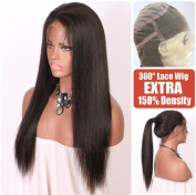 Persephone Light Yaki Straight 360 Lace Frontal Wig Pre Plucked With Baby Hair Brazilian Remy Human Hair Wigs For African American Women 150 Density 41cm Natural Colour