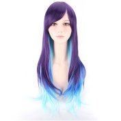 COSIN 60cm Long Straight Women Girls Purple Ombre Sky Blue Wigs with Side Bangs Wig Cap Included