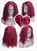Personality Red Colour 100% Brazilian Human Hair Wigs