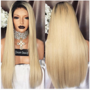 Straight Ombre Blond Human Hair Wigs Full Lace Wig 1B/613 Colour With Free Part 130% Density Lace Frontal Wig For Black/White Women
