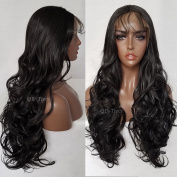 QD-Tizer Long Straight Hair Synthetic Lace Front Wigs Black Colour Heat Resistant Synthetic Wig for Women
