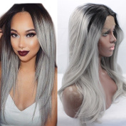 FOND Glueless Lace Front Wigs Synthetic Hair Natural Straight Wig for Black Women Heat Resistant Fibre Ombre Colour Grey