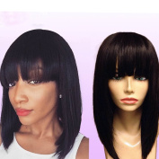 Luxwig 8A Brazilian Virgin Human Hair Lace Front Wig Glueless Short Bob Wig with Full Bangs And Baby Hair for Black Women130 Density Natural Colour