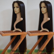 8A Peruvian Full Lace Human Hair Wigs Silky Straight Glueless Lace Front Human Hair Wig with Baby Hair 130% Density 70cm Natural Colour