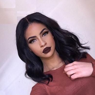 NiceToBuy 7A Glueless Short Bob Brazilian Virgin Human Hair Lace Front Wigs for Women Body Wave 150% High Density Medium Size Cap (36cm , Natural Colour)