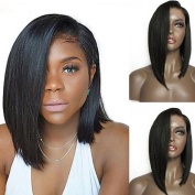 NiceToBuy Glueless Straight Short Bob Lace Front Wigs With Side Part Brazilian Virgin Human Hair Wigs For Black Women 130% Density Medium Size Cap