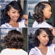 Natural Colour Short Human hair Wig with bangs Unprocessed Brazilian Hair Glueless Lace Front Human Hair Bob Wigs Wavy Full Lace Wig with Natural Hairline