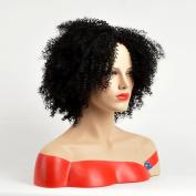 Aoert Afor Kinky Curly Wig Short Black Heat Resistant Synthetic Wigs for Women Side Part 25cm