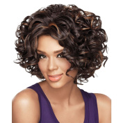 Alan Hair Fashion Dark Brown Colour Short Wavy Wigs, High-Temperature Synthetic Fibre Wig for African American Women